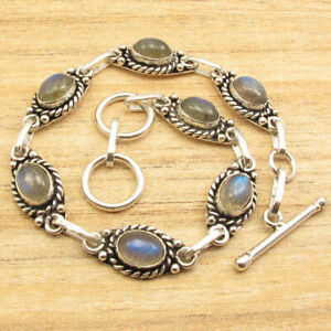 925 Silver Plated HANDCRAFTED BOYS' BRACELET 7 7/8 Inches, Blue Fire LABRADORITE