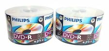 100 PHILIPS Blank DVD-R DVDR Recordable Logo Branded 16X 4.7GB Media Disc