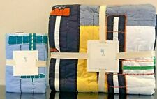 New Pottery Barn Kids Airplane Icon Multi-Color Twin Quilt & Euro Sham, Aviator
