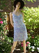 BLUE PATTERNED SLEEVELESS CHIFFON NIGHTDRESS WITH FRONT LACE DETAIL GEORGE UK 12