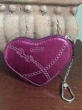 Coach Heart Coin Purse Jewel Leather Keychain Metallic Pink Magenta 44477 W6
