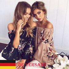 DE Damenshirt Carmen Schulterfrei Rüschen Blusen Tops Oberteil Shirt Hemd Tunika