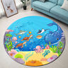 Round Floor Mat Kid Bedroom Living Room Area Rugs Underwater Cartoon Marine Life