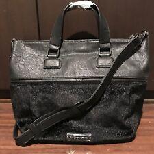 BCBG BCBGeneration Landon Zipper Tribute Black Crossbody Purse Handbag Fur NWT