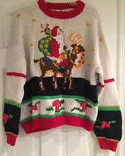 CHRISTMAS SWEATER Handmade in Peru gorgeous knit pattern Santa Reindeer size M
