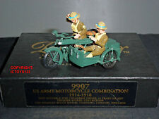 CHARLES BIGGS PREMIER 9907 US ARMY MOTORCYCLE + SIDECAR METAL TOY SOLDIER SET