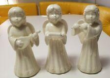 3 Vintage Ceramic Christmas Angels Flute Carolers Handmade