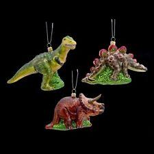 POLONAISE Set/3 Dinosaur Glass Ornament T Rex, Stegosaurus & Triceratops MIB