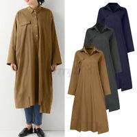 ZANZEA Womens Long Coat Down Button Cotton Trench Tunic Shirt Outerwear Plus