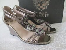 VINCE CAMUTO METALLIC BRONZE 100% LEATHER YEWELED SHOES SIZE 9 1/2 W - NEW