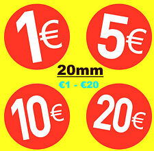 20mm Bright Red Euro € - Price Point Stickers - Sticky Labels - Swing Tag Labels