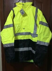 Frontier Hi Vis Work Jacket 5 In 1 Size 6XL Yellow/Navy Priced to clear RRP $120