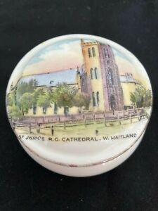 SHELLEY - SOUVENIR WARE COVERED PIN DISH - ST JOHN'S CATHEDL WEST MAITLAND 1920s