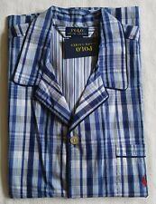 Polo Ralph Lauren Men's Pajama Shirt Button Front Short Sleeve Plaid Checks M L