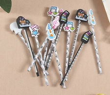 lot 12pcs wood music note piano keyboard eraser pencil black and white colour