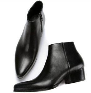 Men's Leather Pointed Toe Ankle Boots Low Cuban Heels High Top Shoes Dress US 9