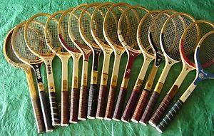 Vintage Retro Madera Raqueta de Tenis Slazenger,Dunlop,Profesional,Wilson