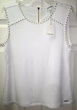 NWT CALVIN KLEIN Womens Sleeveless Gold Stud Beaded White Dress Suit Top Shirt S