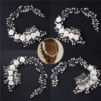Wedding Pearl Flower Hair Crystal Bridal Clip Side Comb Headband Accessory Prom