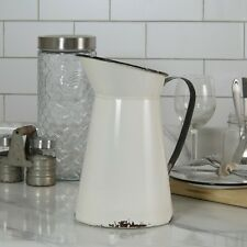 Metal Enamel Pitcher Distressed Farmhouse Style White with Black Trim and Handle