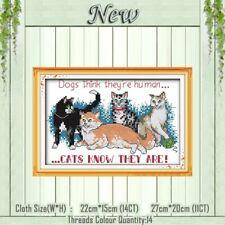 CATS KNOW THEY ARE HUMAN cross stitch Kit 14ct Size 22 x 15 cm JOY SUNDAY BNIP