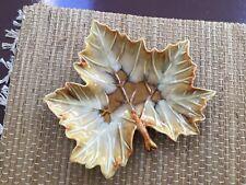 """Vintage Dryden Ozark Frontier Maple Leaf Ceramic Dish 9 1/4"""" Wide"""