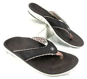 GUC Women's Spenco Brown & Pink Flip Flops Sz 9