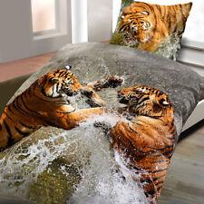 Baumwoll Satin Bettwäsche Wende 135x200 2-teilig Tiger Wasser terra