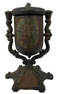 Antique 1862 Victorian Painted Cast Iron Swivel Acorn Figural Stove Match Holder