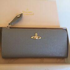 Vivienne Westwood Saffiano Leather Zip Closure Long Wallet Purse- Taupe