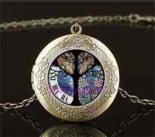 Vintage Owl Tree of life Photo Cabochon Glass Brass Locket Pendant Necklace