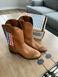 Vintage Georgia Boot Pull On Leather Cowboy Work Made In America 9 1/2 W NOS BOX