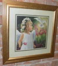Home Interiors picture Little Girl With A Dove 19 X19 Laurie Sno Hein