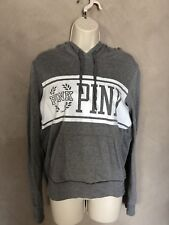 Ladies Teen Victoria's Secret PINK Gray Hoodie Sweatshirt Top Small S