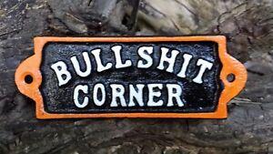 H~D BULLSHIT CORNER Cast Iron Plaque Sign~Org/Blk/ White  Biker Motorcycle hd