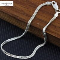 Women Italy 925 Sterling Silver Thin Mesh Rope Chain Hand Bracelet Wrist Band 7""