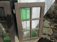 6 Pane stained glass windows, 1 of 2 Old, Wood Frame