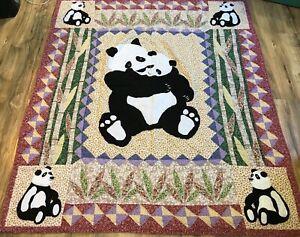"Vintage Handmade Panda Bear Baby Quilt 47"" X 56"""