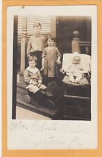 Real Photo Postcard RPPC - Children on Porch - Boy on Toy Horse