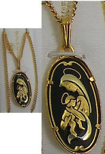 Damascene Gold Virgin Mary / Baby Jesus Pendant Necklace by Midas of Spain 4216
