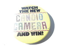 "VINTAGE NOS 3"" PINBACK BUTTON #43- 014 - WATCH CANDID CAMERA TV SHOW"