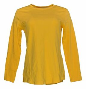 Isaac Mizrahi Live! Women's Top Sz XS Essentials Pima Crew Neck Yellow A372671