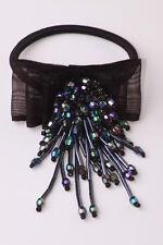 Eye-catching nœud noir cheveux bande élastique ab pierre goutte perles party fun (ZX22)