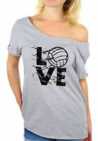 LOVE Volleyball Women's Off Shoulder Tops T shirt Volleyball Gifts Game Day