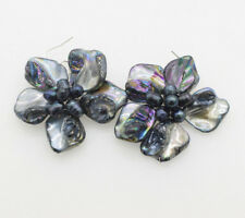 black freshwater pearl and shell flower hook  earrings nature wholesale beads