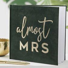 ALMOST MRS Keepsake Guest Book Green Velvet Luxury Advice Book Hen Party Shower
