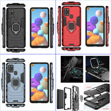 For Samsung Galaxy A21s, 3in1 Shockproof Rugged Grip Ring Car Holder Case +glass