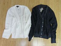 $85 NWT J.CREW Womens Ribbed metallic cardigan sweater white navy  M L XL JCREW