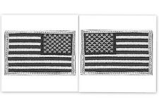 USA AMERICAN FLAG TACTICAL PATCH Set /2 US ARMY BADGE Silver Police HOOK & LOOP