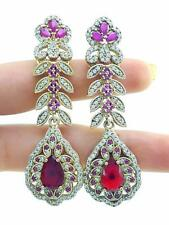 TURKISH HANDMADE JEWELRY 925 Sterling Silver Antique Ruby Earrings E2574